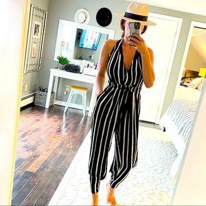INDAH NWT black white stripe halter jumpsuit XS